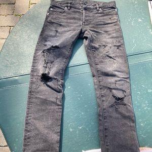 Balmain SS17 Distressed Black Jeans